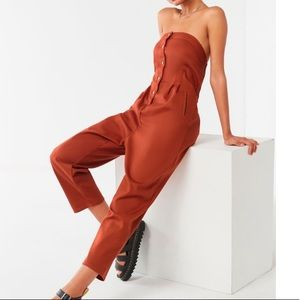 Urban Outfitters Rust Orange Strapless Jumpsuit XS